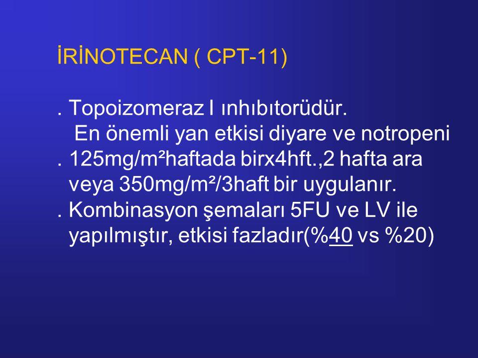 İRİNOTECAN ( CPT-11). Topoizomeraz I ınhıbıtorüdür. En önemli yan etkisi diyare ve notropeni. 125mg/m²haftada birx4hft.,2 hafta ara veya 350mg/m²/3haf