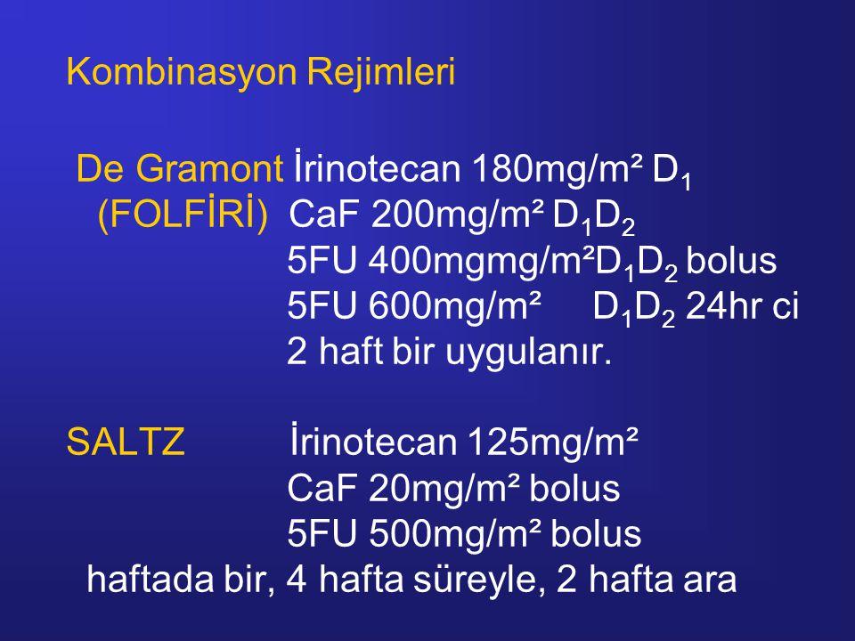 Kombinasyon Rejimleri De Gramont İrinotecan 180mg/m² D 1 (FOLFİRİ) CaF 200mg/m² D 1 D 2 5FU 400mgmg/m²D 1 D 2 bolus 5FU 600mg/m² D 1 D 2 24hr ci 2 haft bir uygulanır.