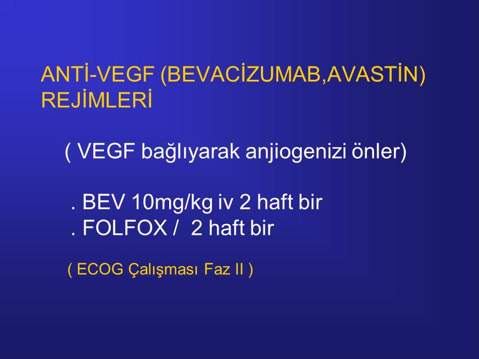 ANTİ-VEGF (BEVACİZUMAB,AVASTİN) REJİMLERİ ( VEGF bağlıyarak anjiogenizi önler). BEV 10mg/kg iv 2 haft bir. FOLFOX / 2 haft bir ( ECOG Çalışması Faz II