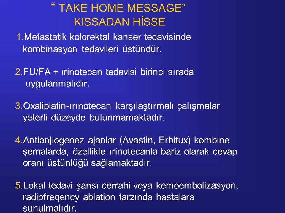 TAKE HOME MESSAGE KISSADAN HİSSE 1.Metastatik kolorektal kanser tedavisinde kombinasyon tedavileri üstündür.