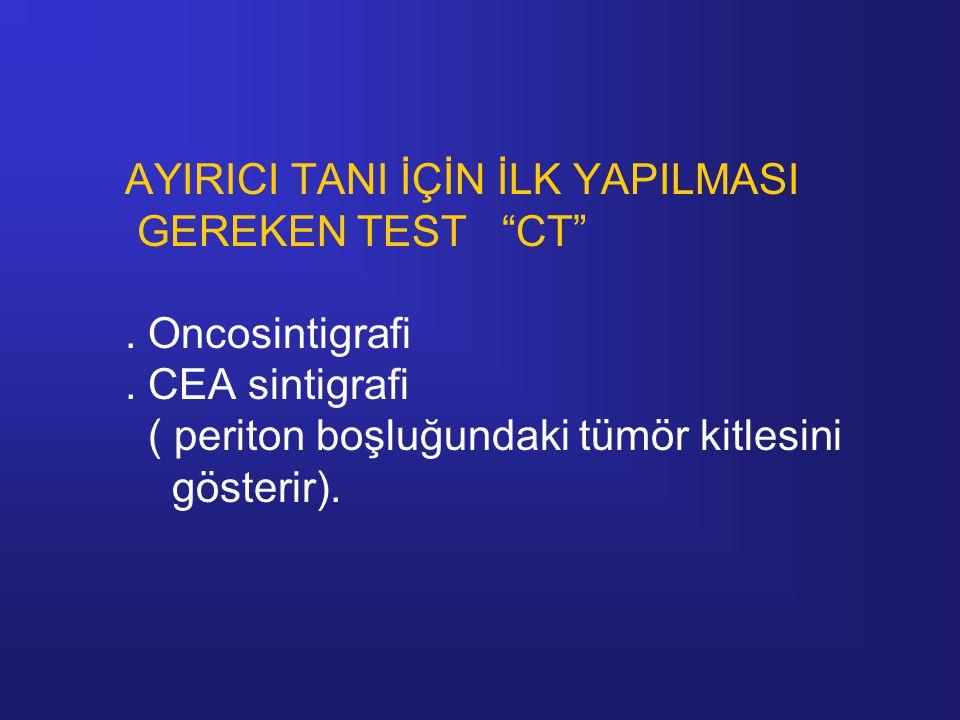 """AYIRICI TANI İÇİN İLK YAPILMASI GEREKEN TEST """"CT"""". Oncosintigrafi. CEA sintigrafi ( periton boşluğundaki tümör kitlesini gösterir)."""