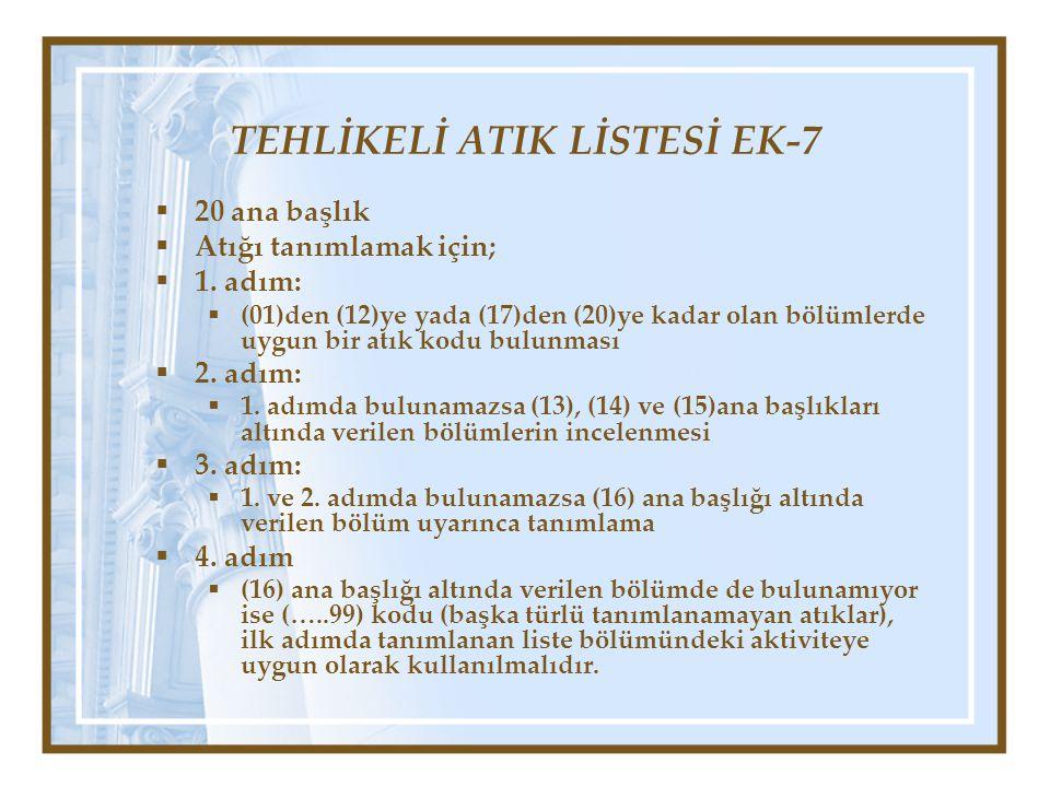 TEHLİKELİ ATIK LİSTESİ EK-7  20 ana başlık  Atığı tanımlamak için;  1. adım:  (01)den (12)ye yada (17)den (20)ye kadar olan bölümlerde uygun bir a