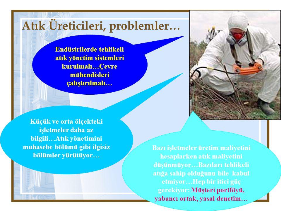 Atık Üreticileri, problemler… Endüstrilerde tehlikeli atık yönetim sistemleri kurulmalı…Çevre mühendisleri çalıştırılmalı… Küçük ve orta ölçekteki işl
