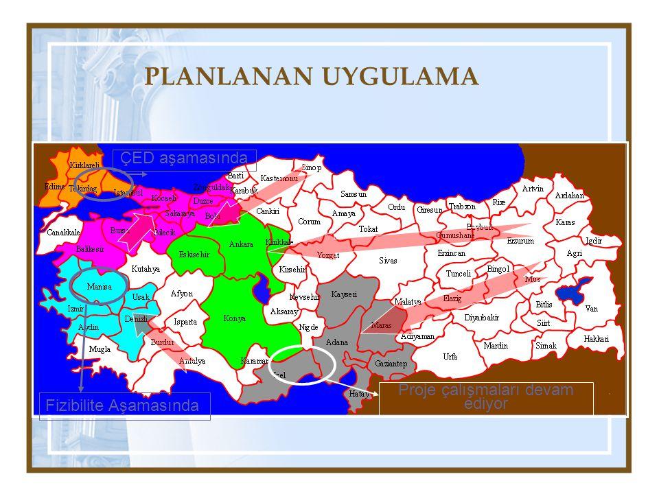 PLANLANAN UYGULAMA Proje çalışmaları devam ediyor ÇED aşamasında Fizibilite Aşamasında