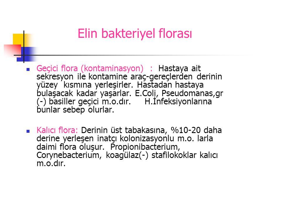 Elin bakteriyel florası  Geçici flora (kontaminasyon) : Hastaya ait sekresyon ile kontamine araç-gereçlerden derinin yüzey kısmına yerleşirler. Hasta