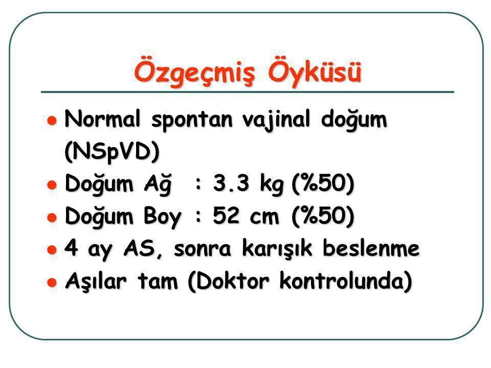 Özgeçmiş Öyküsü  Normal spontan vajinal doğum (NSpVD)  Doğum Ağ: 3.3 kg(%50)  Doğum Boy: 52 cm(%50)  4 ay AS, sonra karışık beslenme  Aşılar tam (Doktor kontrolunda)