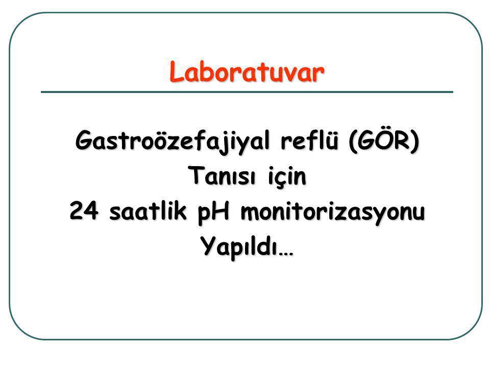 Laboratuvar Gastroözefajiyal reflü (GÖR) Tanısı için 24 saatlik pH monitorizasyonu Yapıldı…
