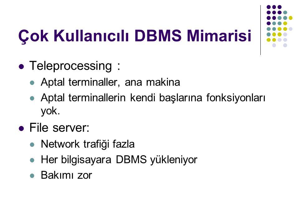 Çok Kullanıcılı DBMS Mimarisi  Client/Server:  Server:  Client'tan gelen isteklere kabul etm ve işlemek  Yetki kontrolu  Sistem bakımı  Performans ölçümü  Client:  Kullanıcı arabirimini yönetmek  Kullanıcının isteklerini üretmek ve vt yollamak  Kullanıcıya cevapları göstermek