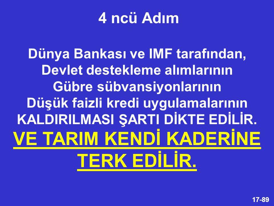 17-89 Dünya Bankası ve IMF tarafından, Devlet destekleme alımlarının Gübre sübvansiyonlarının Düşük faizli kredi uygulamalarının KALDIRILMASI ŞARTI DİKTE EDİLİR.