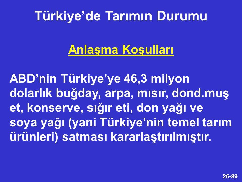 26-89 Anlaşma Koşulları ABD'nin Türkiye'ye 46,3 milyon dolarlık buğday, arpa, mısır, dond.muş et, konserve, sığır eti, don yağı ve soya yağı (yani Türkiye'nin temel tarım ürünleri) satması kararlaştırılmıştır.