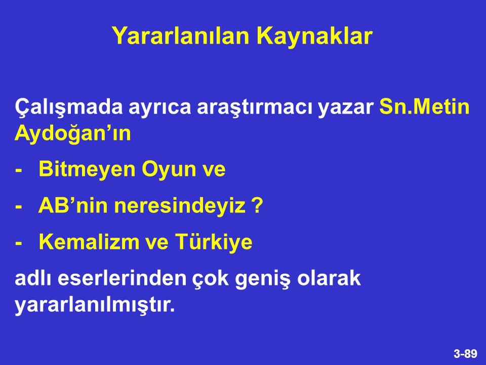3-89 Çalışmada ayrıca araştırmacı yazar Sn.Metin Aydoğan'ın -Bitmeyen Oyun ve -AB'nin neresindeyiz .
