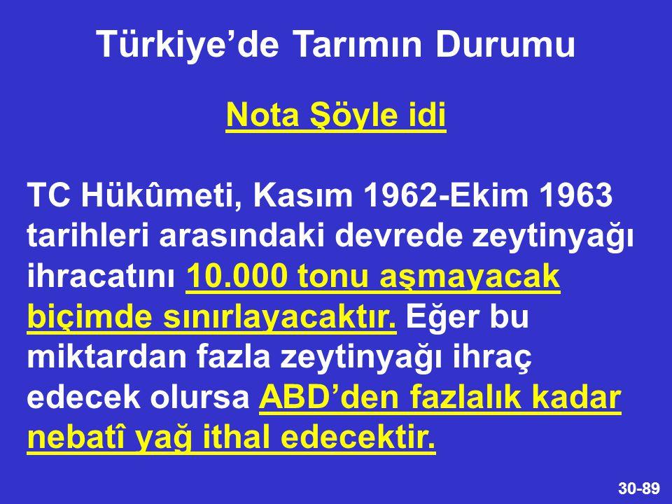 30-89 Nota Şöyle idi TC Hükûmeti, Kasım 1962-Ekim 1963 tarihleri arasındaki devrede zeytinyağı ihracatını 10.000 tonu aşmayacak biçimde sınırlayacaktır.