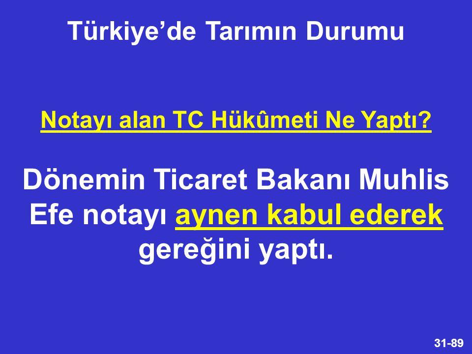 31-89 Notayı alan TC Hükûmeti Ne Yaptı.