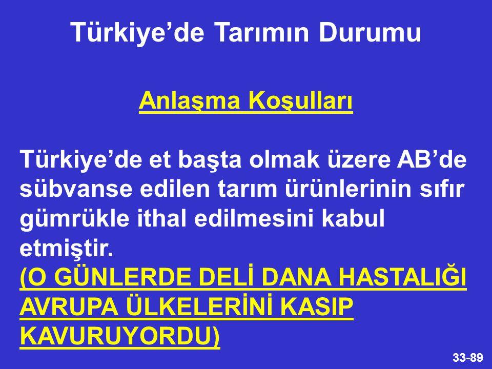 33-89 Anlaşma Koşulları Türkiye'de et başta olmak üzere AB'de sübvanse edilen tarım ürünlerinin sıfır gümrükle ithal edilmesini kabul etmiştir.