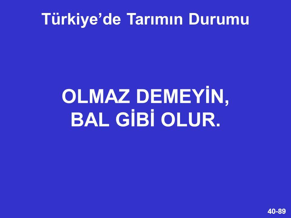 40-89 OLMAZ DEMEYİN, BAL GİBİ OLUR. Türkiye'de Tarımın Durumu
