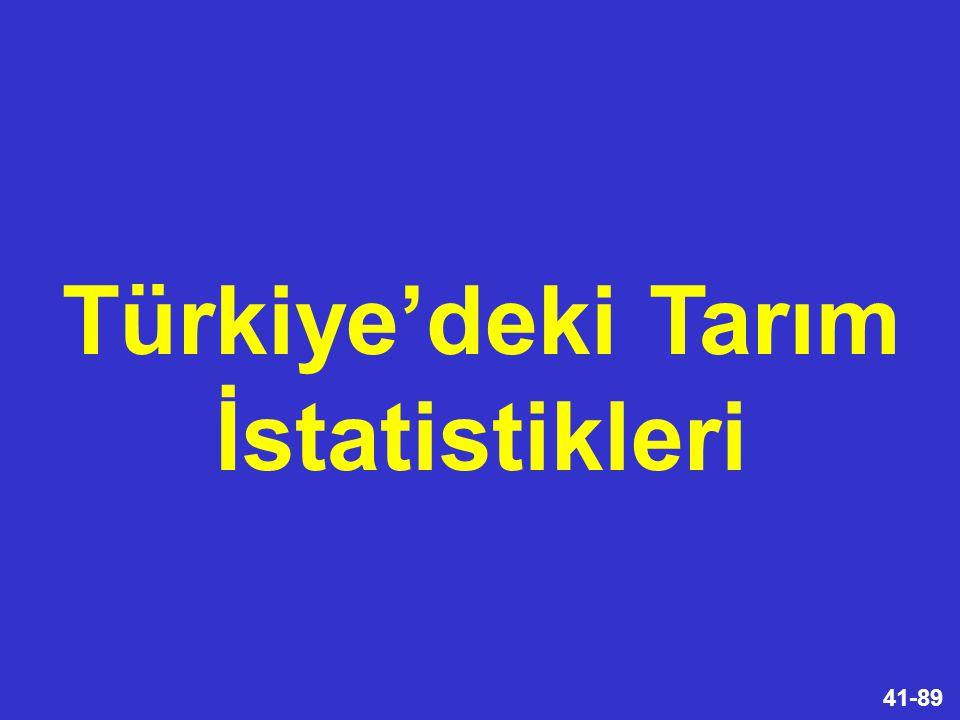 41-89 Türkiye'deki Tarım İstatistikleri
