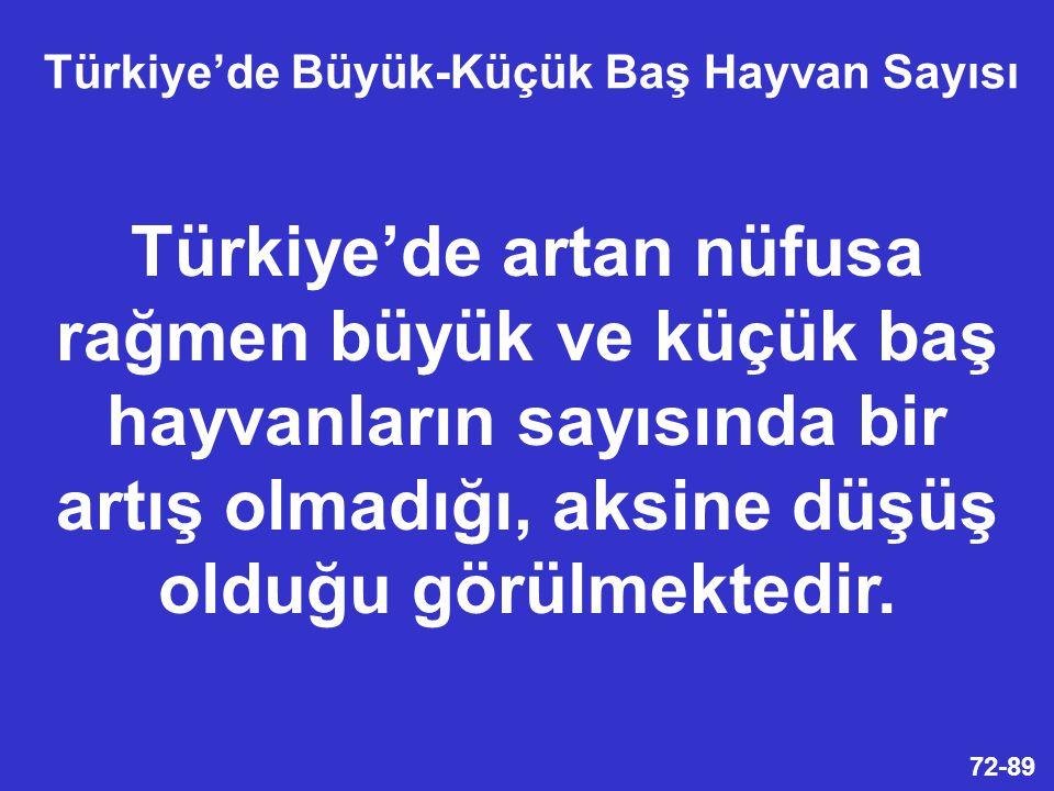 72-89 Türkiye'de artan nüfusa rağmen büyük ve küçük baş hayvanların sayısında bir artış olmadığı, aksine düşüş olduğu görülmektedir.