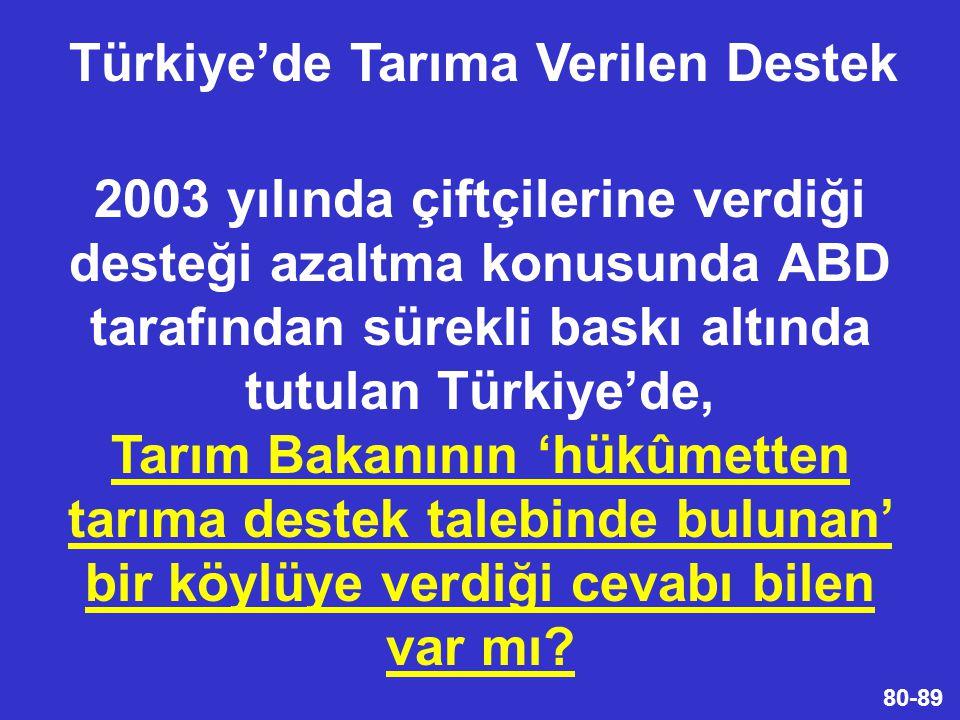 80-89 2003 yılında çiftçilerine verdiği desteği azaltma konusunda ABD tarafından sürekli baskı altında tutulan Türkiye'de, Tarım Bakanının 'hükûmetten tarıma destek talebinde bulunan' bir köylüye verdiği cevabı bilen var mı.