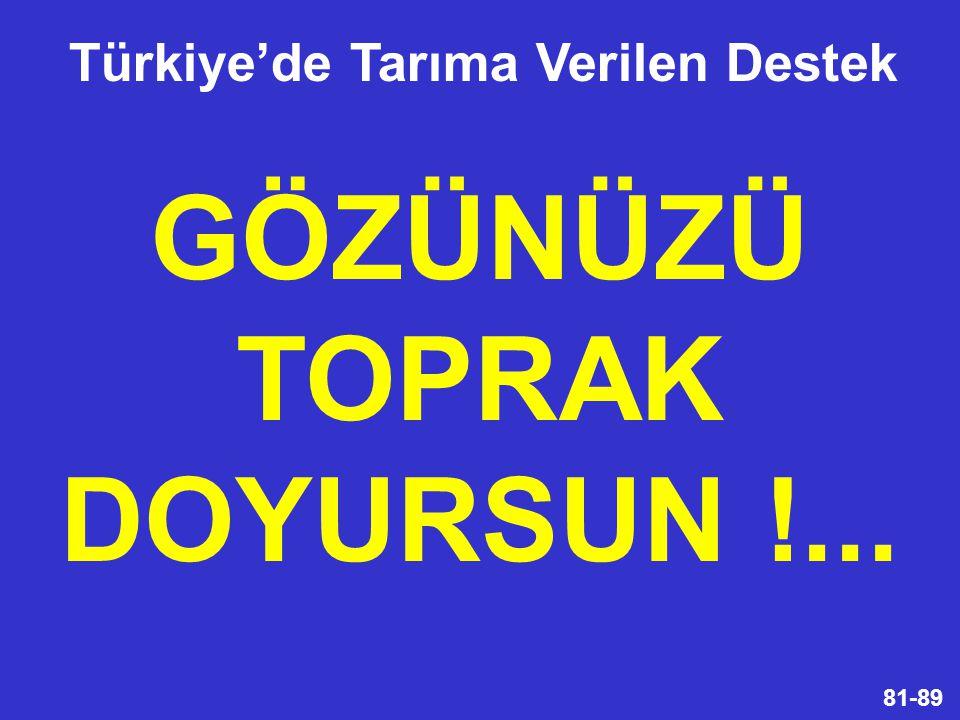 81-89 GÖZÜNÜZÜ TOPRAK DOYURSUN !... Türkiye'de Tarıma Verilen Destek