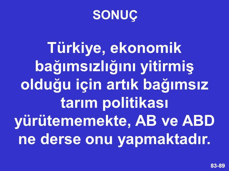 83-89 Türkiye, ekonomik bağımsızlığını yitirmiş olduğu için artık bağımsız tarım politikası yürütememekte, AB ve ABD ne derse onu yapmaktadır.