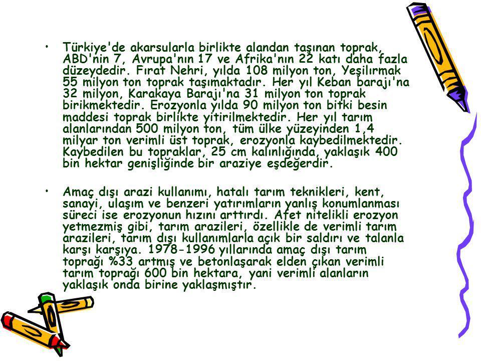 Türkiye'de Erozyon •D•Dünyada olduğu gibi Türkiye'de de toprak kaybı sürecinin en önemli etkeni erozyondur. Arazi eğimi, iklim, bitki örtüsü ve toprak