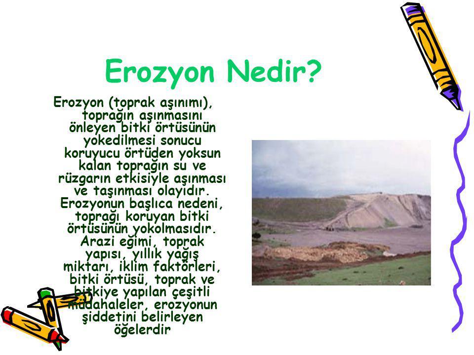 •Türkiye de akarsularla birlikte alandan taşınan toprak, ABD nin 7, Avrupa nın 17 ve Afrika nın 22 katı daha fazla düzeydedir.