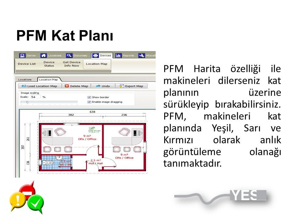 PFM Kat Planı PFM Harita özelliği ile makineleri dilerseniz kat planının üzerine sürükleyip bırakabilirsiniz. PFM, makineleri kat planında Yeşil, Sarı