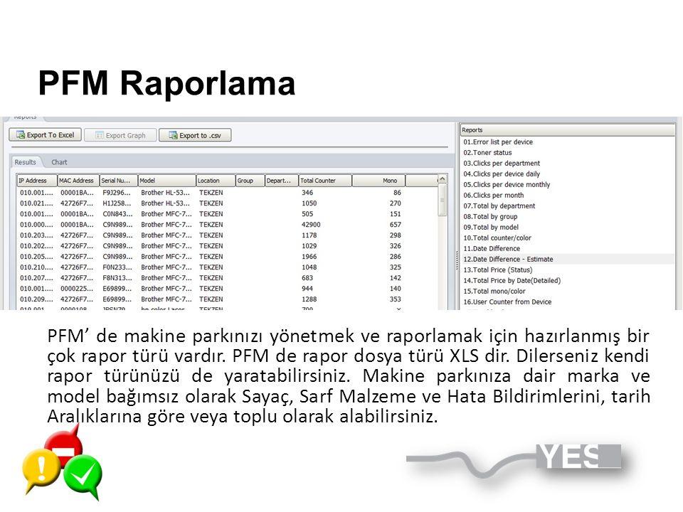 PFM Raporlama PFM' de makine parkınızı yönetmek ve raporlamak için hazırlanmış bir çok rapor türü vardır. PFM de rapor dosya türü XLS dir. Dilerseniz
