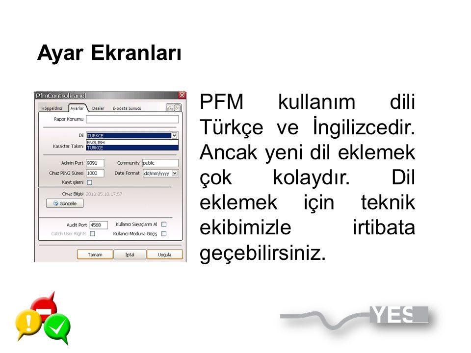 Ayar Ekranları PFM kullanım dili Türkçe ve İngilizcedir. Ancak yeni dil eklemek çok kolaydır. Dil eklemek için teknik ekibimizle irtibata geçebilirsin