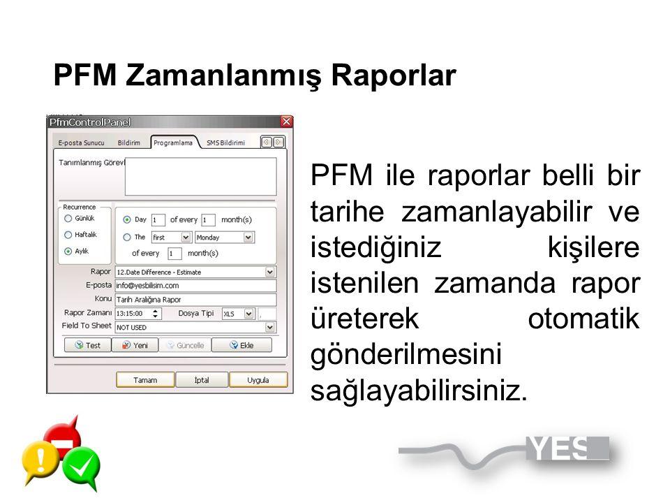 PFM Zamanlanmış Raporlar PFM ile raporlar belli bir tarihe zamanlayabilir ve istediğiniz kişilere istenilen zamanda rapor üreterek otomatik gönderilme