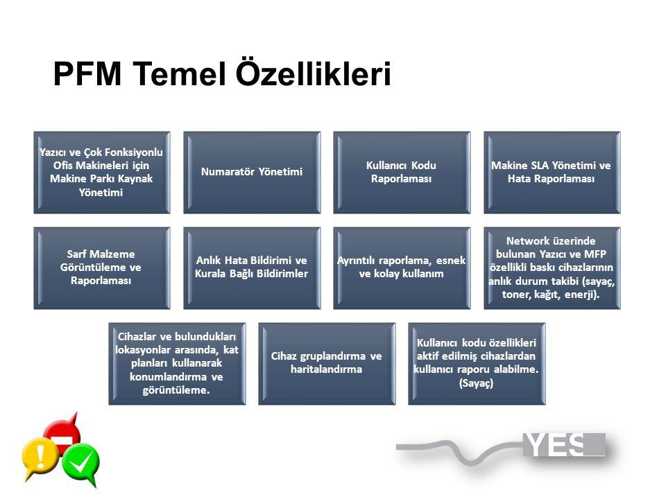 PFM Temel Özellikleri Yazıcı ve Çok Fonksiyonlu Ofis Makineleri için Makine Parkı Kaynak Yönetimi Numaratör Yönetimi Kullanıcı Kodu Raporlaması Makine