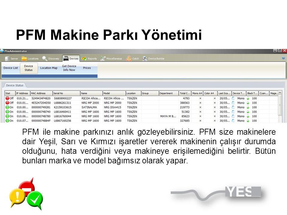 PFM Makine Parkı Yönetimi PFM ile makine parkınızı anlık gözleyebilirsiniz. PFM size makinelere dair Yeşil, Sarı ve Kırmızı işaretler vererek makineni