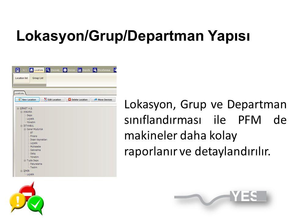 Lokasyon/Grup/Departman Yapısı Lokasyon, Grup ve Departman sınıflandırması ile PFM de makineler daha kolay raporlanır ve detaylandırılır.