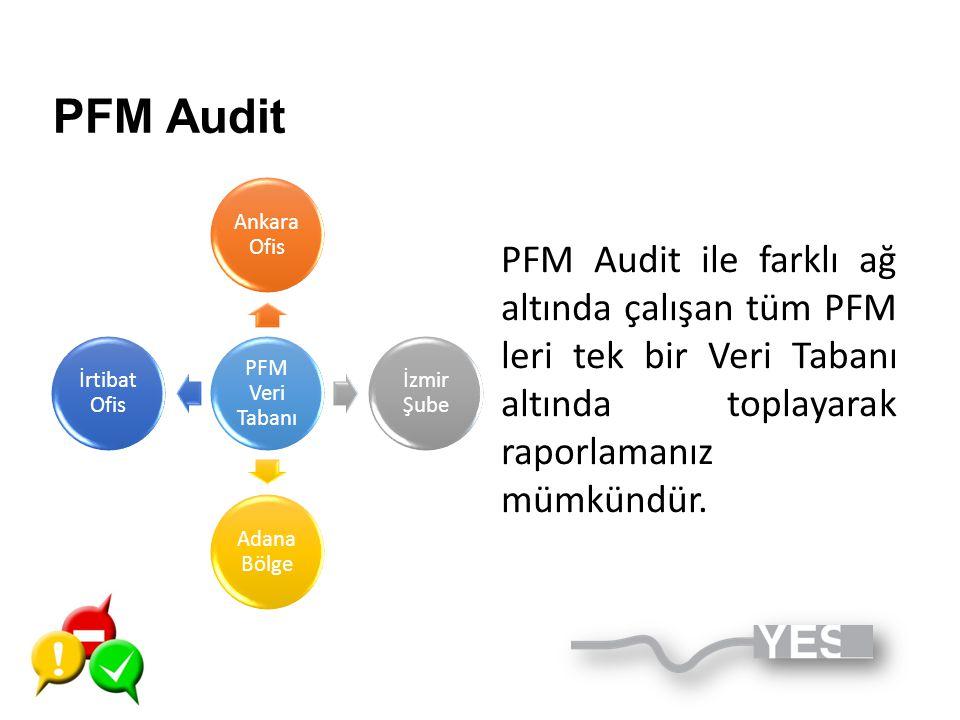 PFM Veri Tabanı Ankara Ofis İzmir Şube Adana Bölge İrtibat Ofis PFM Audit PFM Audit ile farklı ağ altında çalışan tüm PFM leri tek bir Veri Tabanı alt