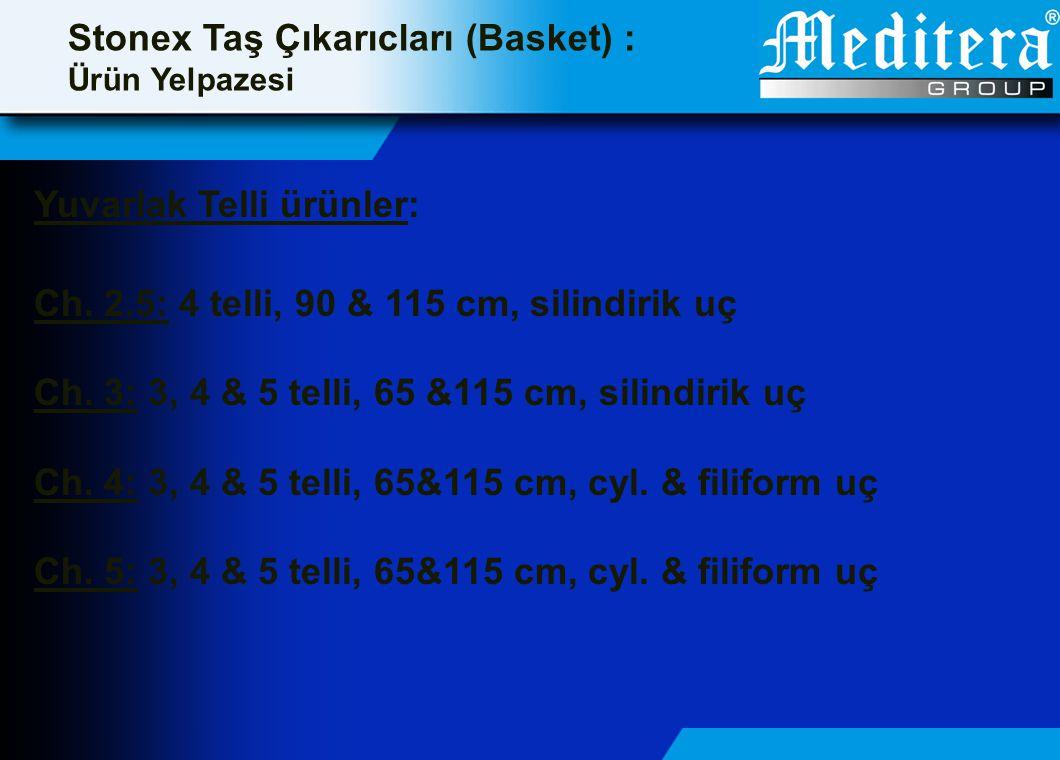 Stonex Taş Çıkarıcları (Basket) : Ürün Yelpazesi Yuvarlak Telli ürünler: Ch. 2.5: 4 telli, 90 & 115 cm, silindirik uç Ch. 3: 3, 4 & 5 telli, 65 &115 c
