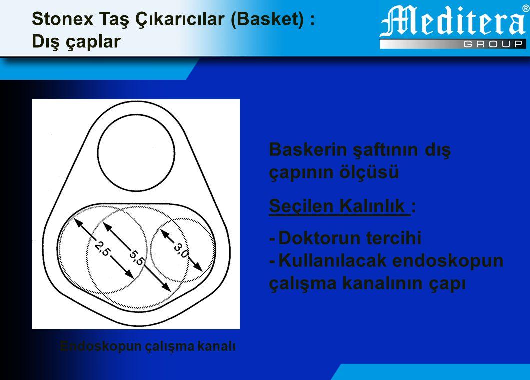 Endoskopun çalışma kanalı Stonex Taş Çıkarıcılar (Basket) : Dış çaplar Baskerin şaftının dış çapının ölçüsü Seçilen Kalınlık : -Doktorun tercihi -Kull