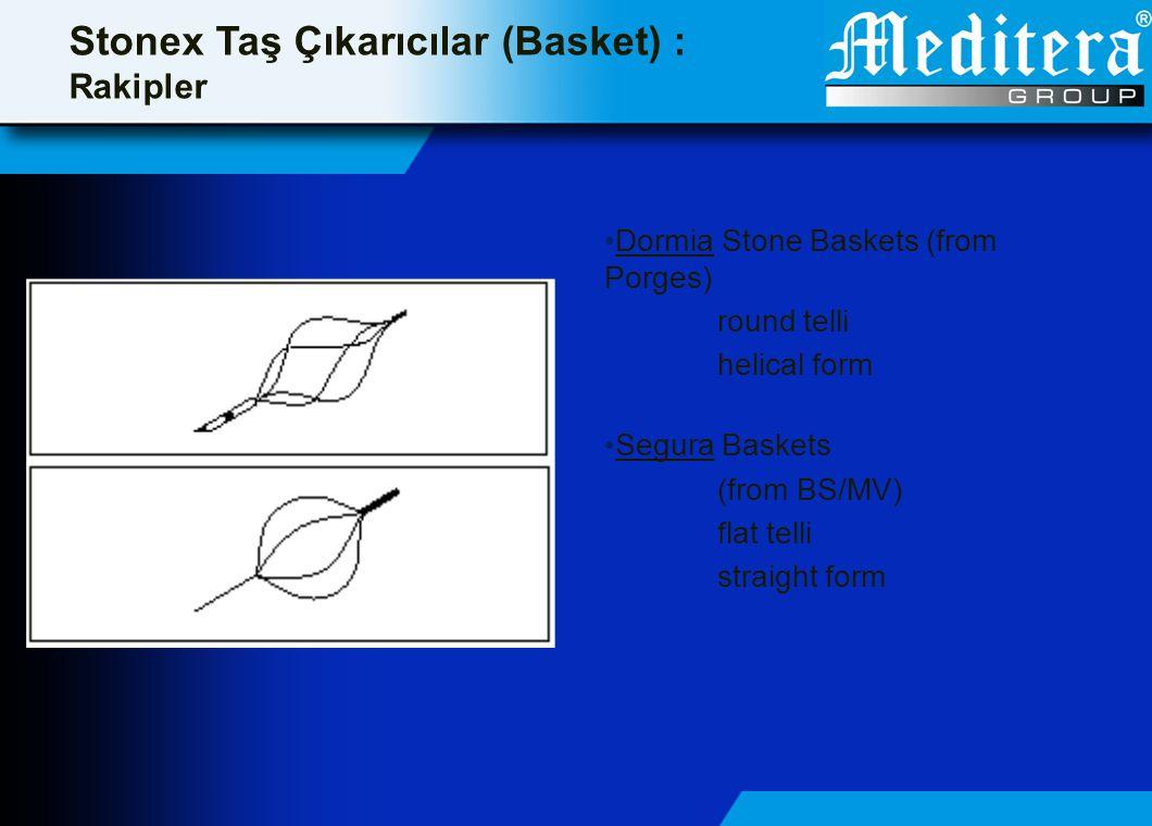 Stonex Taş Çıkarıcılar (Basket) : Rakipler • Dormia Stone Baskets (from Porges) round telli helical form • Segura Baskets (from BS/MV) flat telli stra