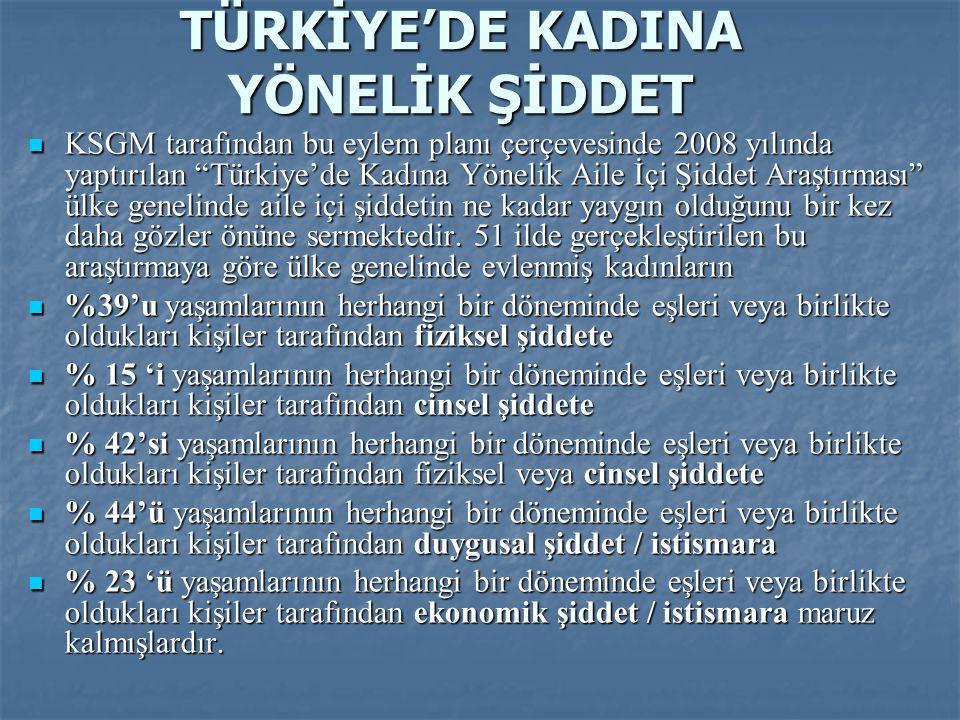 """TÜRKİYE'DE KADINA YÖNELİK ŞİDDET  KSGM tarafından bu eylem planı çerçevesinde 2008 yılında yaptırılan """"Türkiye'de Kadına Yönelik Aile İçi Şiddet Araş"""