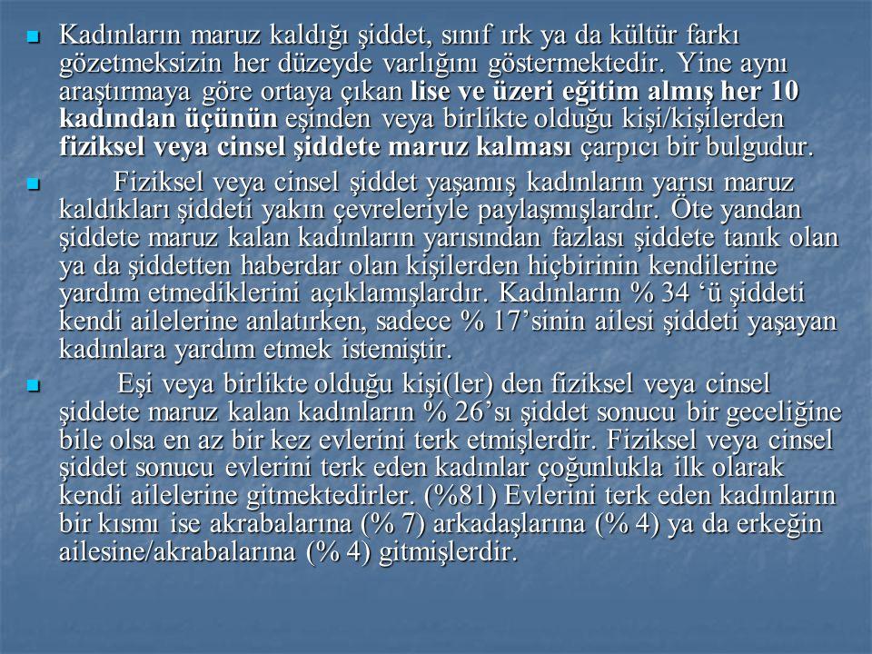 TÜRKİYE'DE KADINA YÖNELİK ŞİDDETLE MÜCADELE  Türkiye'de kadına yönelik şiddetle mücadelenin kurumsallaşmasının iki örneği İstanbul'da Mor Çatı Kadın Sığınma Vakfı ve Ankara'daki Kadın Dayanışma Vakfı 1990'larda açılmışlardır.
