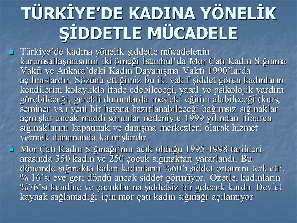 TÜRKİYE'DE KADINA YÖNELİK ŞİDDETLE MÜCADELE  Türkiye'de kadına yönelik şiddetle mücadelenin kurumsallaşmasının iki örneği İstanbul'da Mor Çatı Kadın
