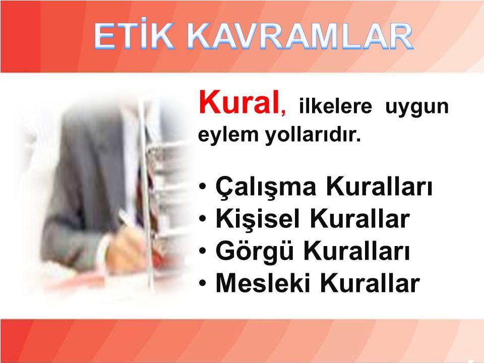 Kural, ilkelere uygun eylem yollarıdır. • Çalışma Kuralları • Kişisel Kurallar • Görgü Kuralları • Mesleki Kurallar