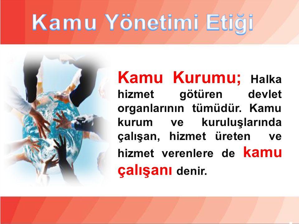 Kamu Kurumu; Halka hizmet götüren devlet organlarının tümüdür. Kamu kurum ve kuruluşlarında çalışan, hizmet üreten ve hizmet verenlere de kamu çalışan
