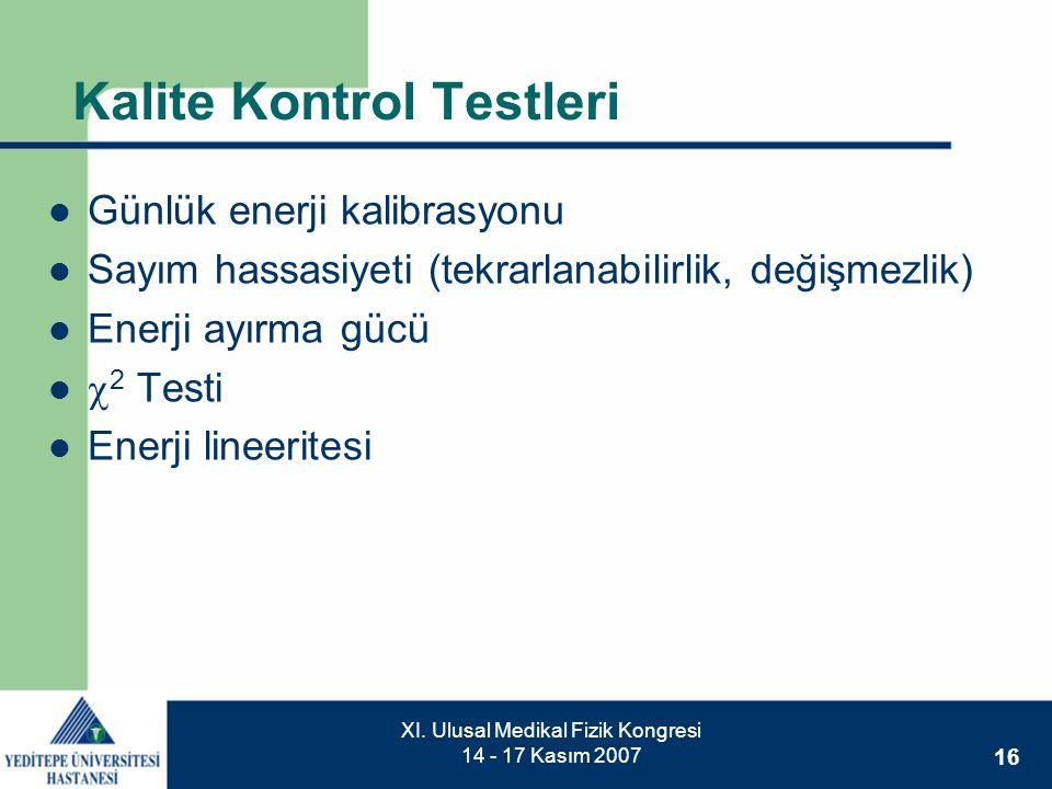 16 XI. Ulusal Medikal Fizik Kongresi 14 - 17 Kasım 2007 Kalite Kontrol Testleri  Günlük enerji kalibrasyonu  Sayım hassasiyeti (tekrarlanabilirlik,