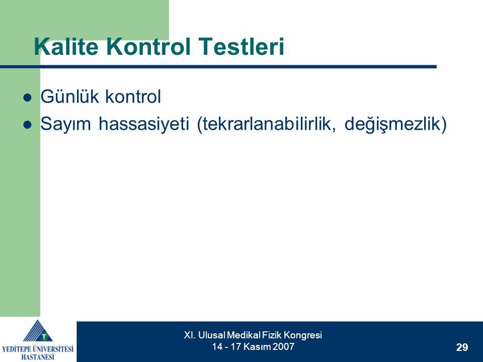 29 XI. Ulusal Medikal Fizik Kongresi 14 - 17 Kasım 2007 Kalite Kontrol Testleri  Günlük kontrol  Sayım hassasiyeti (tekrarlanabilirlik, değişmezlik)