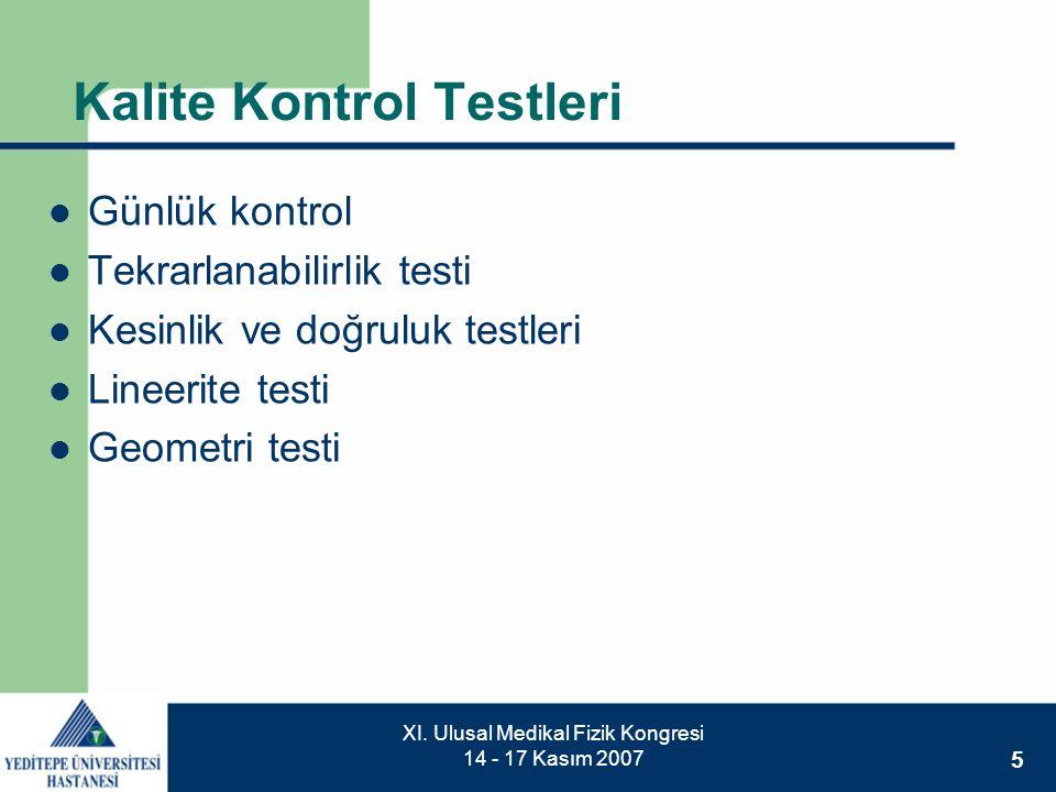 5 XI. Ulusal Medikal Fizik Kongresi 14 - 17 Kasım 2007 Kalite Kontrol Testleri  Günlük kontrol  Tekrarlanabilirlik testi  Kesinlik ve doğruluk test
