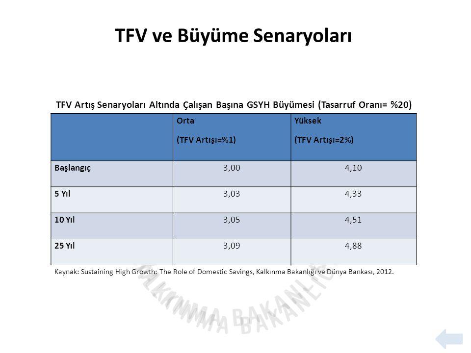 TFV Artış Senaryoları Altında Çalışan Başına GSYH Büyümesi (Tasarruf Oranı= %20) Orta (TFV Artışı=%1) Yüksek (TFV Artışı=2%) Başlangıç3,004,10 5 Yıl3,034,33 10 Yıl3,054,51 25 Yıl3,094,88 Kaynak: Sustaining High Growth: The Role of Domestic Savings, Kalkınma Bakanlığı ve Dünya Bankası, 2012.