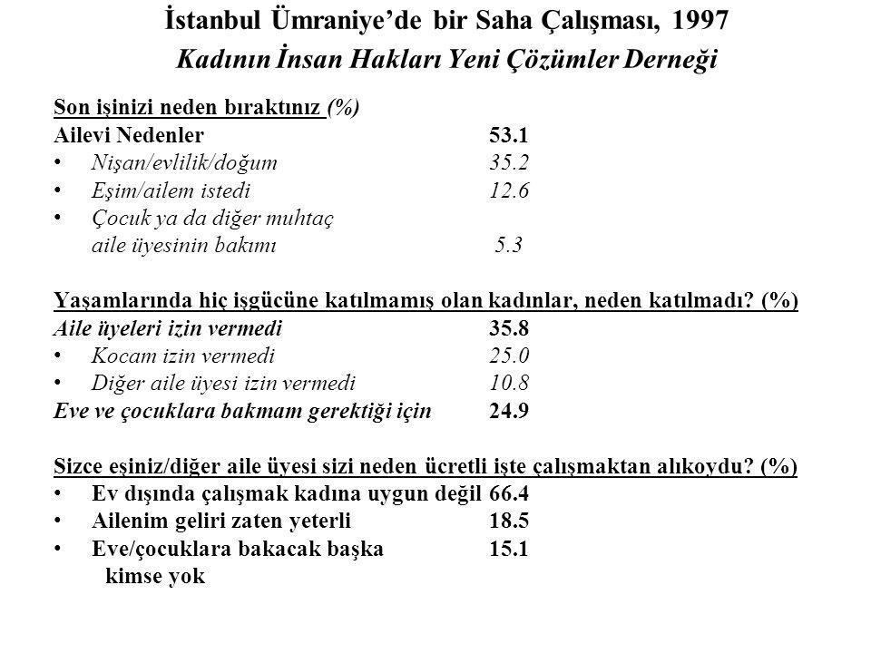 İstanbul Ümraniye'de bir Saha Çalışması, 1997 Kadının İnsan Hakları Yeni Çözümler Derneği Son işinizi neden bıraktınız (%) Ailevi Nedenler53.1 •Nişan/