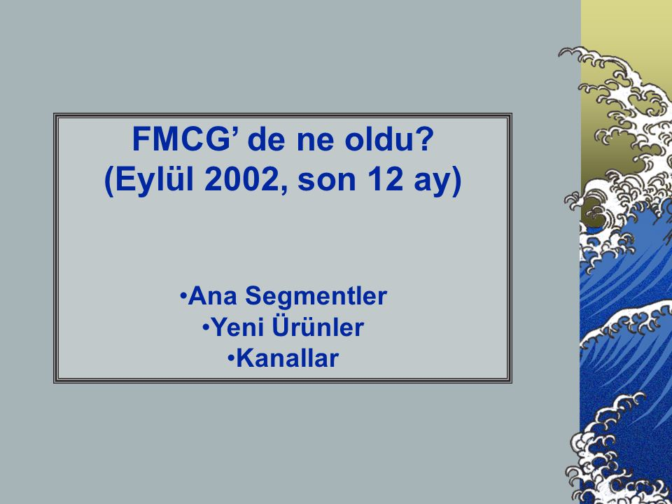FMCG' de ne oldu (Eylül 2002, son 12 ay) •Ana Segmentler •Yeni Ürünler •Kanallar