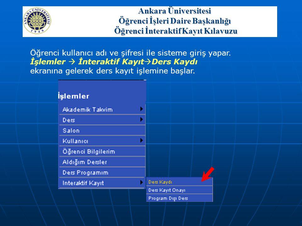 Öğrenci kullanıcı adı ve şifresi ile sisteme giriş yapar. İşlemler  İnteraktif Kayıt  Ders Kaydı ekranına gelerek ders kayıt işlemine başlar. Ankara