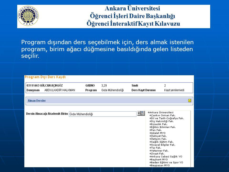 Program dışından ders seçebilmek için, ders almak istenilen program, birim ağacı düğmesine basıldığında gelen listeden seçilir. Ankara Üniversitesi Öğ